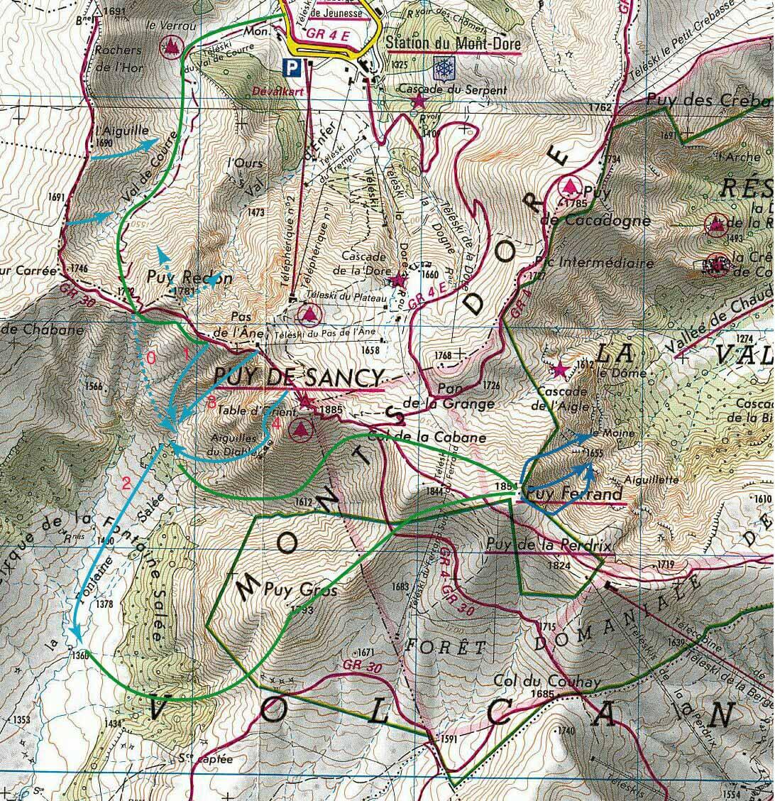 puy de sancy carte Le Circuit des 3 Vallées